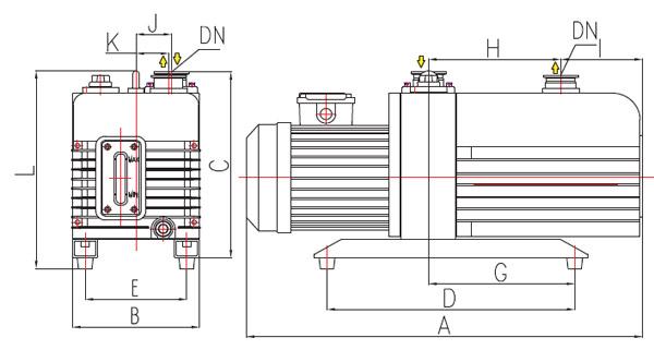 高可靠性直联旋片式真空泵结构图