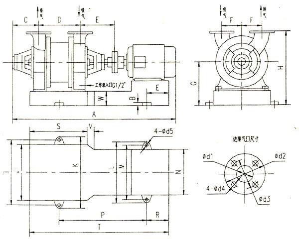 2.SK系列水环式真空泵汽水分离器的安装: 汽车分离器根据外形图安装在地基上。 如果必须改变安装位置时,应注意分离器的联接管路不宜过长,转弯不宜过急,否则水和气在管道中的流动损失必将增加,从而增加了泵排气端的压力,这样就降低了气量和真空度,增加了功率消耗。 汽水分离器进口的管接头与泵出口管接头之间有一弯管4连接(图1、图5)。 带有阀门的管路7与泵有汽水分离器相连接,可以使工作液循环使用。 分离器上安装有供水管路(图中未画出),供水量通过于阀进行调节。 3.