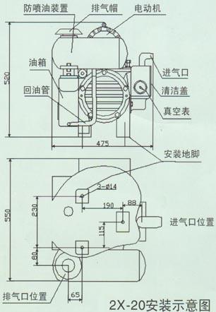 2x旋片式真空泵结构图;