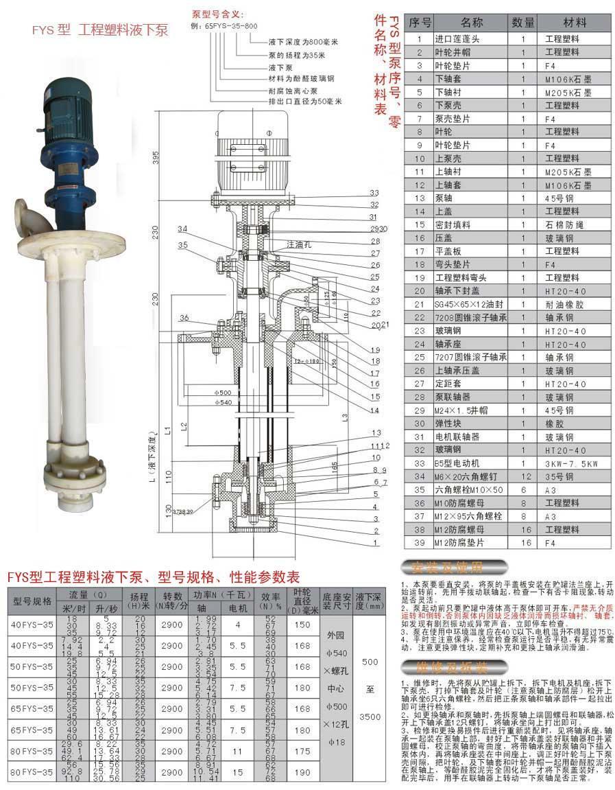 fys工程塑料液下泵结构图-浙江扬子江泵业有限公司