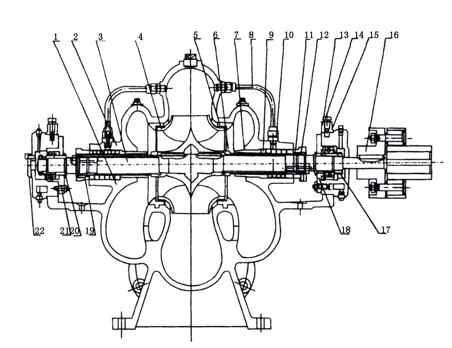 单级双吸离心清水泵结构图