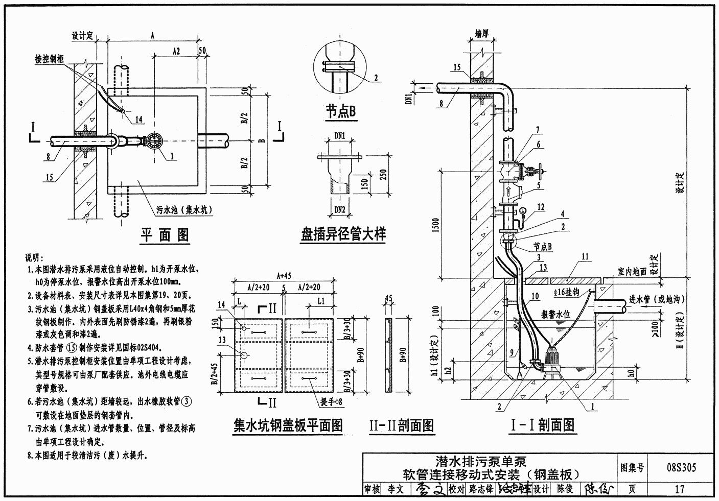 小型潜水排污泵选用及安装;  潜水排污泵控制要求及外部接线图